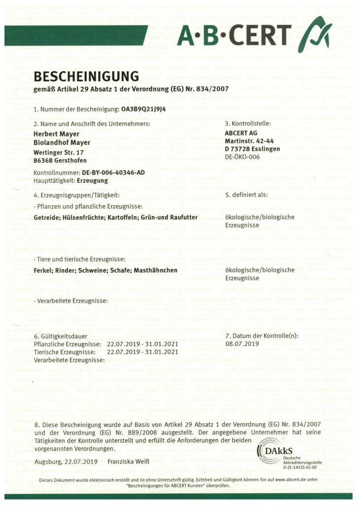 zertifikat mayerhof