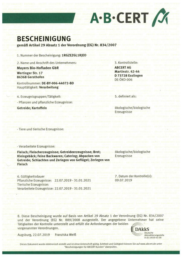 Zertifikat Bioladen