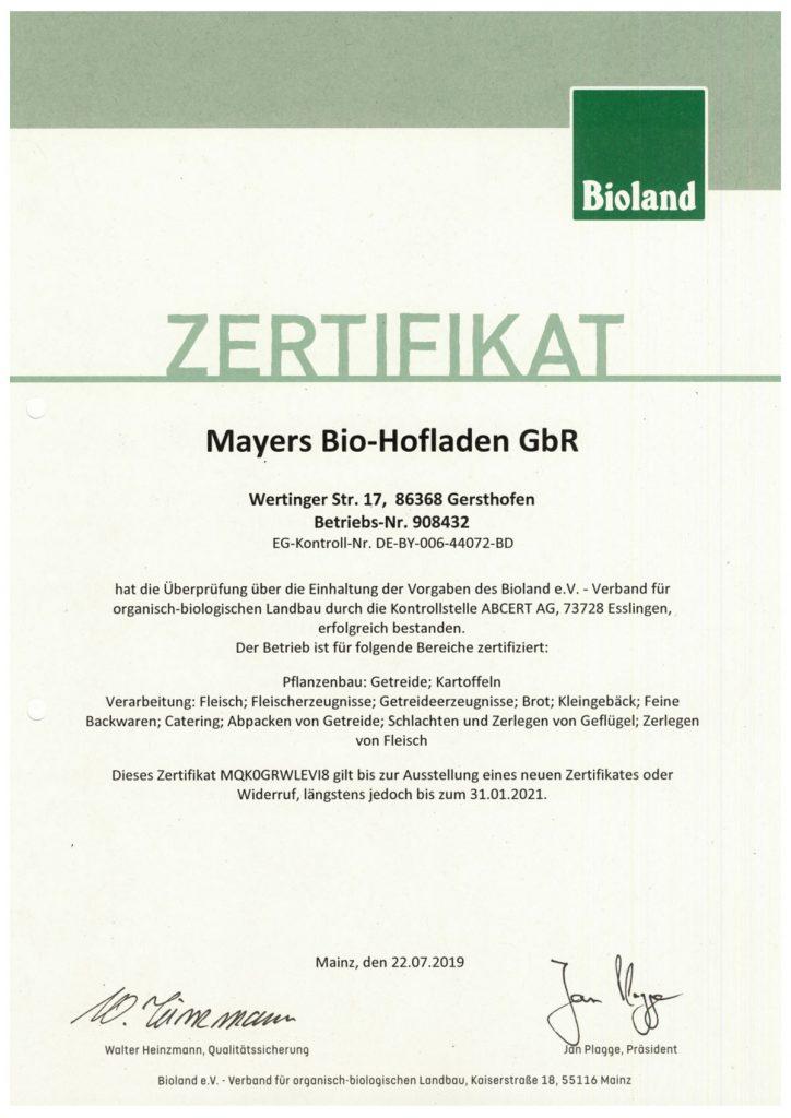 Zertifikat Bioland 2